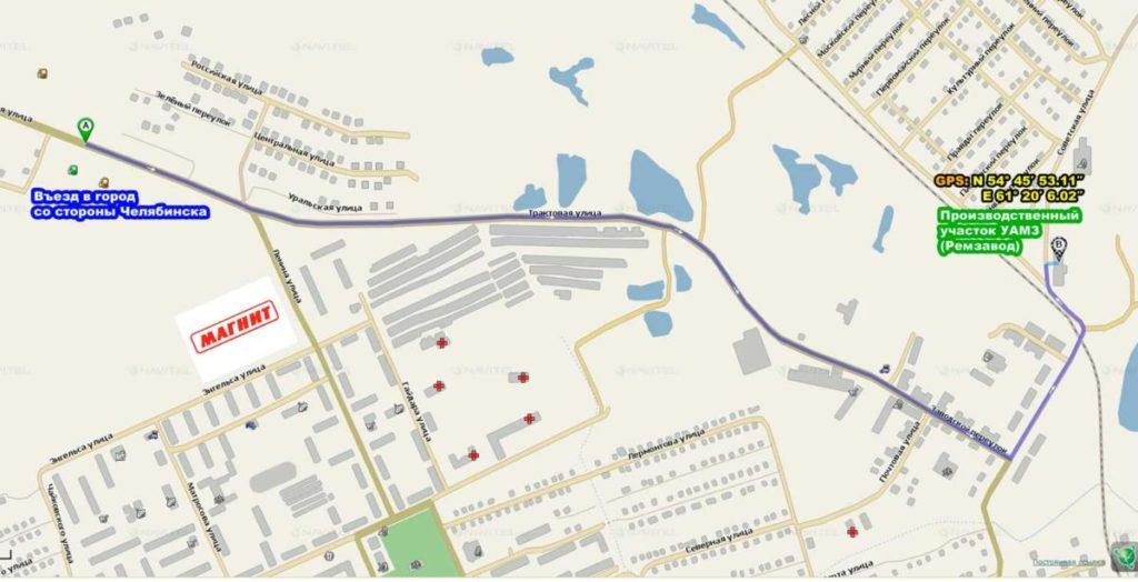 Схема проезда до производственной площадки УАМЗ (Ремзавод)